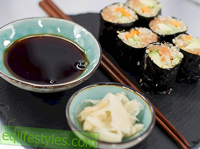 "To the pots, ready, delicious! ""Recipe: Quinoa sushi with avocado, cucumber and smoked salmon"