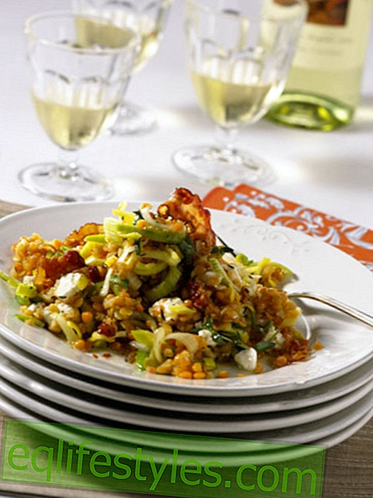 Red lentil salad with sheep's cheese