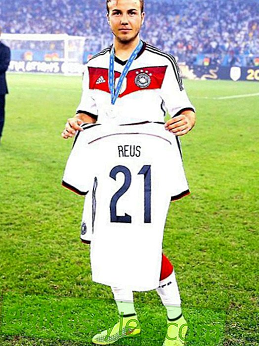 Big gesture: Mario Götze holds Reus jersey in the camera
