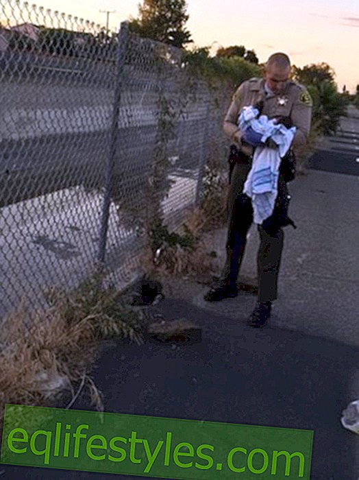 This policeman rescued this foundling at the last second