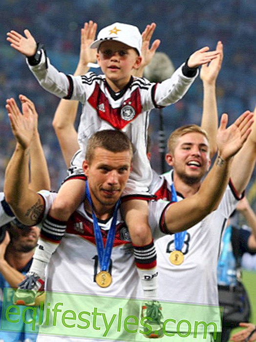 Daddy love: So sweet celebrating the World Cup hero with their children