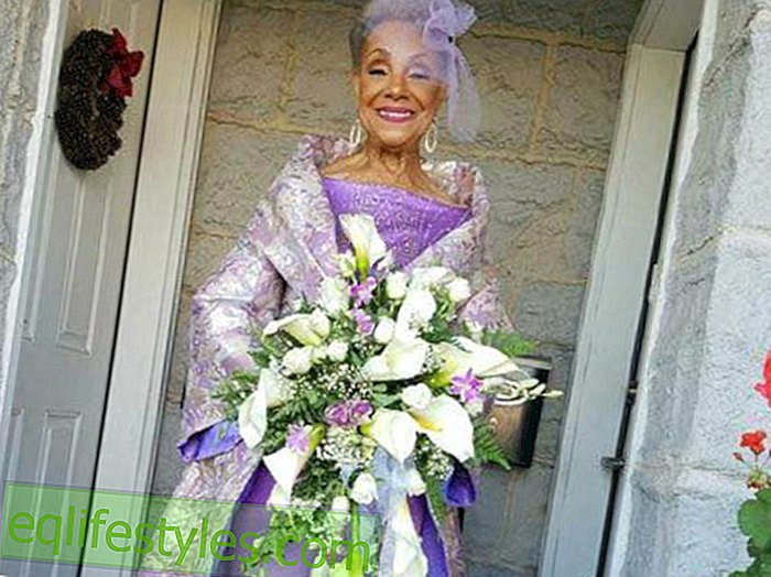So cute!  This bride is 86 years old and looks absolutely adorable in her wedding dress!