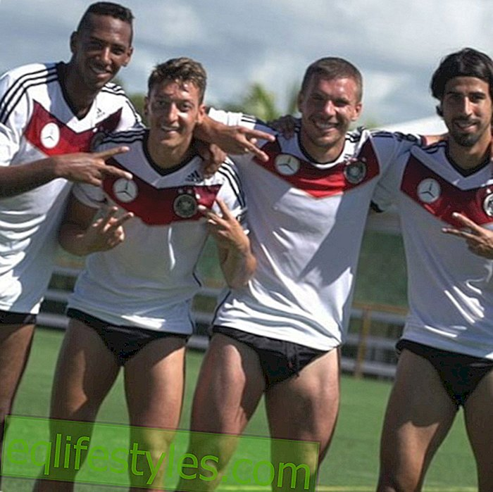 Lukas Podolski and his teammates pose in underpants