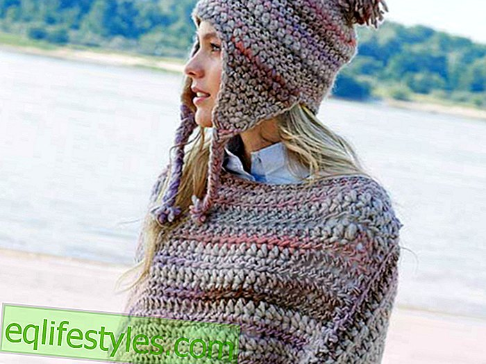 Knitting Knitting Pattern: How to knit a set of poncho and hat