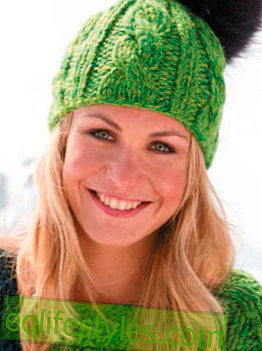 Warm knit DIY knitting pattern for hat with cable pattern