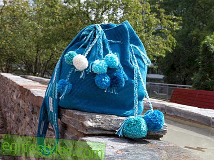 Crochet Tutorial: Crochet fashionable bag with pompons yourself