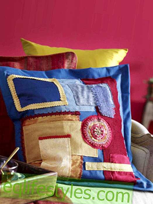 Instructions: Sew on patchwork cushions