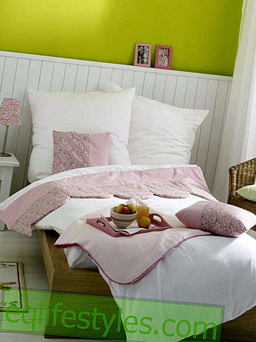 White linen with pink flowers