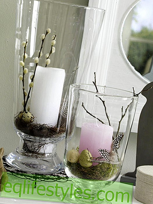 Simply decorate lanterns with Easter eggs
