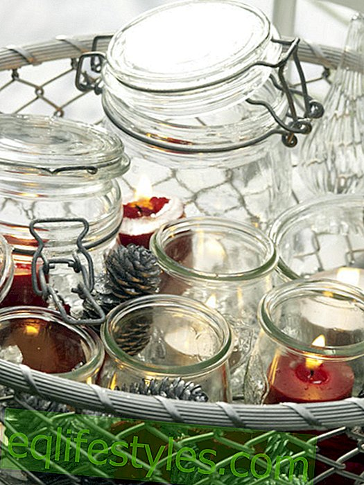 Christmas decorations: lanterns in a wire basket