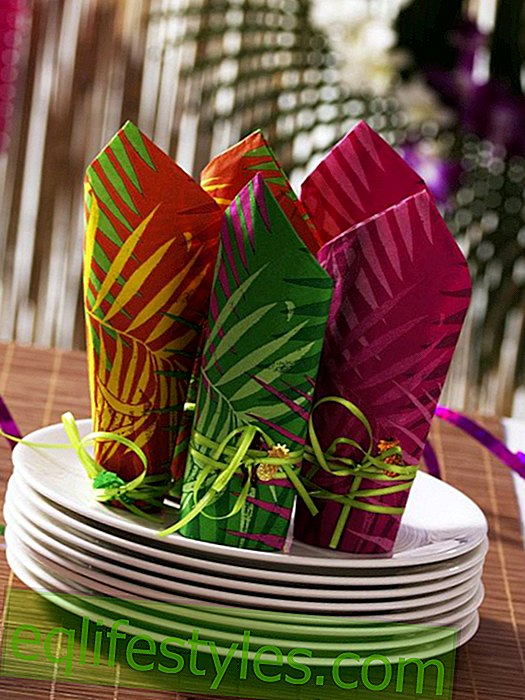 New Year's Eve buffet: Caribbean napkin deco