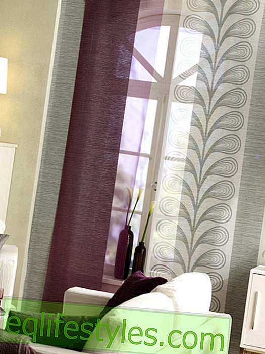 Sliding curtain in purple-gray