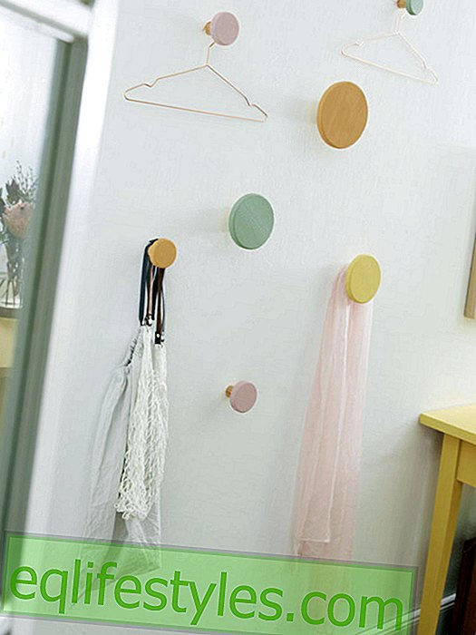 Wall hook in pastel: hallway idea to make your own