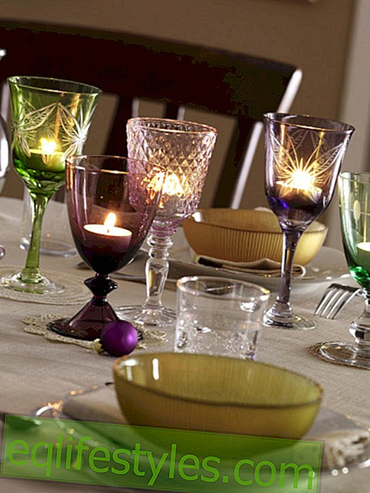 Tealight ideas: glasses with tealights