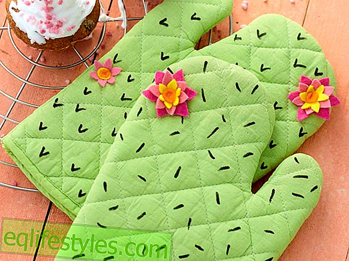 My little green cactus sewing instruction for oven gloves with cactus pattern