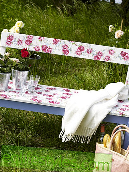 Garden bench with rose motif