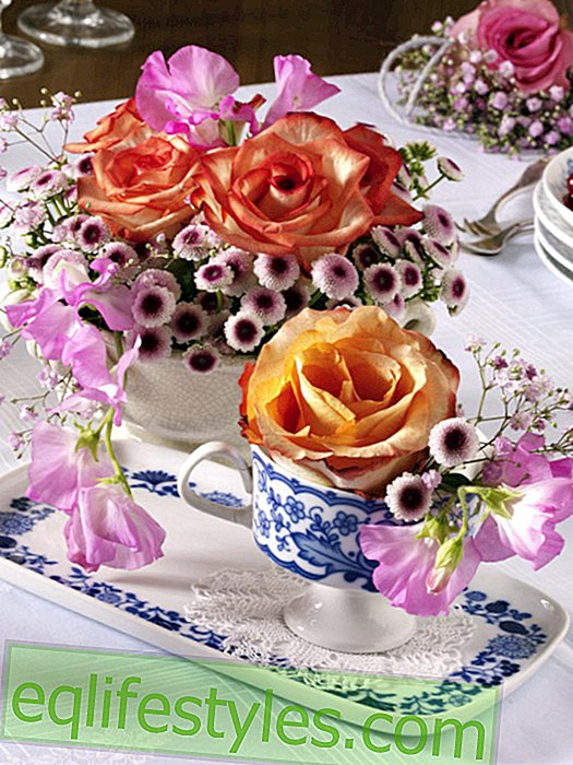 Old dishes with rose arrangements