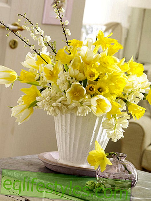 Yellow Easter bouquet with daffodils and tulips