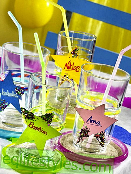 "Children's party with the motto ""circus"": glasses with stars as name tags"