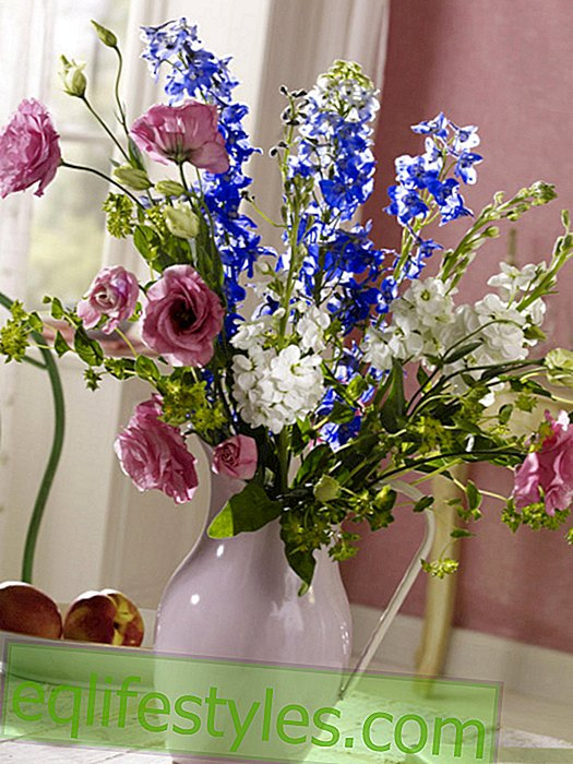 Bouquet with larkspur and Levkojen