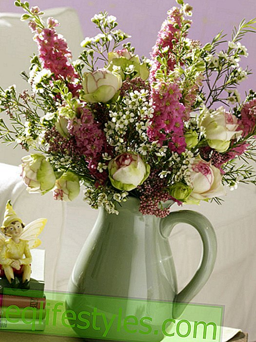 Colorful bouquet in jug