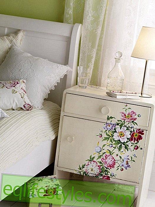 Bedside table with flower decoupage