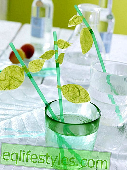 Straws with leaves