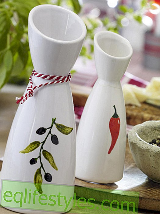 Italian party: painting oil carafes