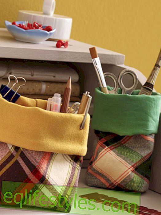 Instructions for utensils bag in a checked look
