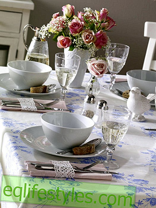 White tableware in the romantic style