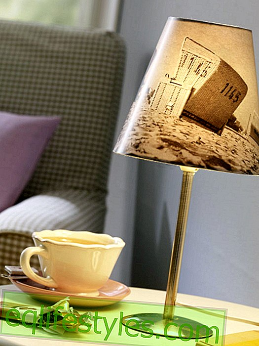 Table lamp with photo lampshade