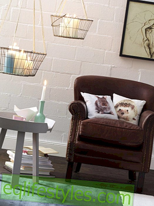 DIY tip: hanging metal basket with candles