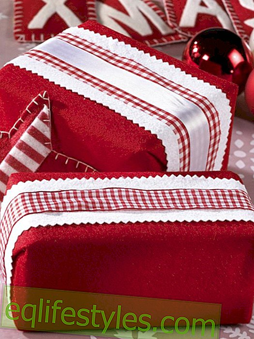 live - Gift wrap with felt in red and white